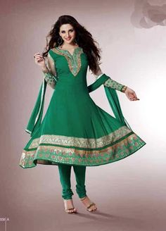 #Buy #Price : Rs 2737 & US$  61 #Dark #Green #Semi #Stitched #Salwar #Kameez @ArtistryC.in #Clothing #Fashion #Women