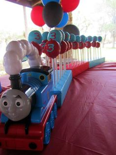 """""""Thomas the Train"""" Cake Pops covered in Choc."""
