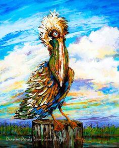 """Bedhead Boudreaux"", New Orleans Pelican Painting, Louisiana Brown Pelican, LouisianaStateBird, Swamp,Bayou, New Orleans Art, Louisiana Art by New Orleans Artist"