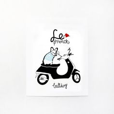 FRENCH BULLDOG  france  dog print  Frenchie  by nicemiceforyou, $20.00