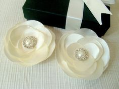 Ivory satin large bridal 2 hair flowers with swarovski by xxyz, $24.00