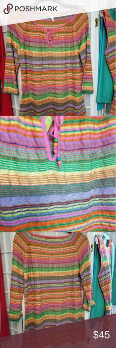 Sigrid Olsen multicolored striped top NWT Long sleeved striped top by Sigrid Olsen in multicolored orange stripes. Made if a thin textured knit with tie neckline.  See matching tank. Size L NWT Sigrid Olsen Tops Tees - Long Sleeve