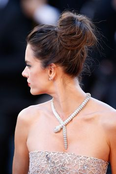Alessandra Ambrosio Loose Bun - Alessandra Ambrosio styled her hair into a loose high bun for the Cannes premiere of 'The Last Face.'