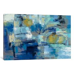 "Mercury Row Ultramarine Waves III Painting Print on Wrapped Canvas Size: 40"" H x 60"" W x 1.5"" D"