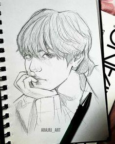 Kpop Drawings, Art Drawings Sketches Simple, Pencil Art Drawings, Cartoon Drawings, Art Manga, Anime Art Girl, Fanart Kpop, Art Kawaii, Taehyung Fanart