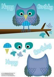 Ditsy Blauwe Verjaardag van de uil A5 Quick Decoupage Card