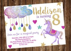 Unicorn Birthday Party Invitation, Purple, Sparkle, Stars, Magical - Digital or Printed