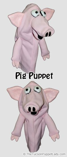 Pig hand puppet sewing pattern available from Craftsy for $5. Made from fleece, felt and foam.