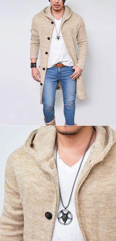 Hooded Long Knit Jacket-Hoodie 169 - GUYLOOK