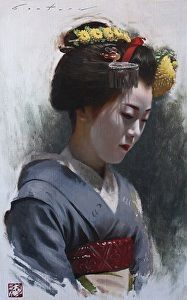 Maiko Tomitae by artist Phil Couture. #oilpainting found on the FASO Daily Art Show - http://dailyartshow.faso.com