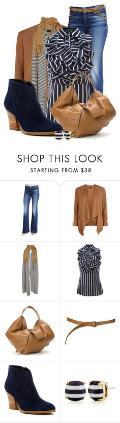 """Camel Stripes"" by jacci0528 ❤ liked on Polyvore featuring 7 For All Mankind, New Look, donni charm, Lauren Ralph Lauren, Valentino, Paul & Joe Sister, Susina and Kate Spade"