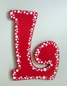 Dotted Hand Painted Letter to Match Room Décor by SassyPeasDesigns