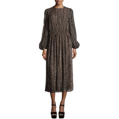 Michael Kors Collection Devore Long-Sleeve Peasant Dress (31.660 RUB) ❤ liked on Polyvore featuring dresses, chocolate, straight dress, long dresses, long peasant dress, michael kors and chocolate brown dress