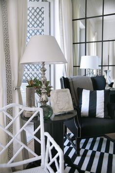 Black & White Striped Living Room