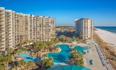 Sprawling beachfront resort in Panama City Beach features 11 swimming pools, 2 golf courses, 6 tennis courts, and 3 restaurants