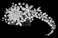 So pretty! Floral Pearl and Rhinestone Wedding Comb - Affordable Elegance Bridal - Bohemian Wedding Theme, Bling Wedding, Wedding Headband, Rhinestone Wedding, Diy Wedding, Wedding Gifts, Wedding Ideas, Summer Wedding, Dream Wedding