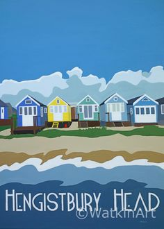 Hengistbury Head Beach Huts. Original painting and prints by Richard Watkin. www.watkinart.co.uk