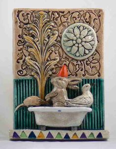 Ceramic Art Tile Bunny in Bath with Bird and by tilebyfire on Etsy