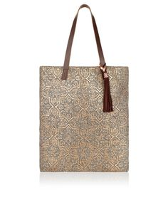 Alanya Foiled Leather Handle Shopper Bag