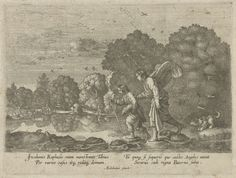 Hendrick Goudt | Tobias en de engel bij een rivier, Hendrick Goudt, Anonymous, 1608 - 1698 | Tobias en de engel Rafaël steken een rivier over. Een hond volgt hen. In Tobias' handen een grote vis. Tobias zal de vis zijn gal later gebruiken om zijn vaders blindheid te genezen. Op de achtergrond een herder en zijn kudde. De prent heeft een Latijns onderschrift. Naar een schilderij van Adam Elsheimer