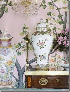 Diamond Baratta Design - love these colors together Antique Wallpaper, English Decor, Painted Paper, Beautiful Wall, Soft Furnishings, Designer Wallpaper, Colorful Decor, Interior Architecture, Color Mixing