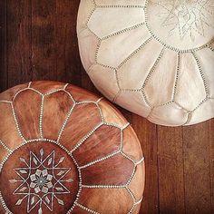 Handmade Moroccan Pouffe (Caramel) - Anna Design Jewellery