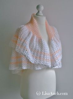 Free Crochet Patterns and Designs by LisaAuch: FREE Vintage Crochet Shawl Pattern Easy Crochet Baby Shawl, Crochet Cape, Crochet Shawls And Wraps, Crochet Scarves, Crochet Clothes, Free Crochet, Knit Crochet, Crochet Vests, Crochet Edgings