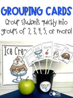 GROUPING CARDS are a fun and easy way to make classroom groups. There are many different ways to group students. GROUPING CARDS are a quick way to group students in 2's, 3's, 4's, 5's or more. Simply choose the set of cards based on the number of students you want in a group and follow the instructi...