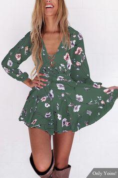 Radom Floral Print V-neck Criss-Cross Mini Dress in Green