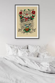 Tattoo Print, Heart Tattoo Old School Decor, Love Tattoo Art Poster Poster Prints, Posters, Art Prints, Classic Tattoo, School Decorations, Love Tattoos, Tattoo Art, Old School, Etsy Seller