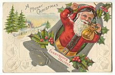 Santa Claus Tiny Kitten Silver Bell Postcard Everybody's Delight 1911 | eBay