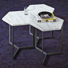 Love the marble Hex tables from West Elm!