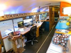 Our dual desk setup. In 35' 5th wheeler.  Dinette and adjacent area removed.  See link for details. Nice set up and can see out windows.  http://www.technomadia.com/full-time-rving-workspaces/technomadia/