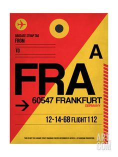FRA Frankfurt Luggage Tag 2 Art Print by NaxArt at Art.com