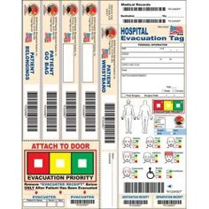 "This DMS-05688 Hospital Evacuation Tag from DMS features a Patient Wristband with matching bar coded bands for patient's belongings, ""Go Bag"", and 2 additional bands for user identified items. An ""Evacuation Priority"" Door Sticker with tear off receipt to indicate to personnel that the patient has been evacuated from their room."
