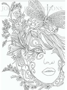 Adult Coloring Book, Printable Coloring Pages, Coloring Pages, Coloring Book for Adults, Instant Download, Faces of the World 2 page 12