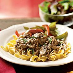 Hamburger Stroganoff .Serve a lightened version of this classic dish with a tossed green salad and sautéed red and green bell pepper strips for a satisfying family-friendly meal.