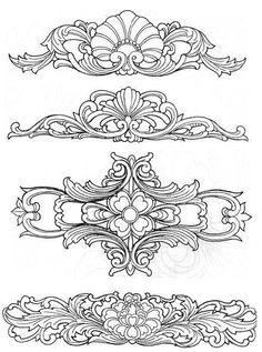 Zhaolong his city of the album - Chinese craft patterns ◎ wood carving patterns Wood Carving Designs, Wood Carving Patterns, Leather Tooling Patterns, Leather Pattern, Leather Carving, Dotwork Tattoo Mandala, Jugendstil Design, Metal Embossing, Motif Floral