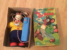 "Rare Vintage Marusan ""SAN"" Japan Smoking PaPa Bear Battery Operated Tin Toy Box #Marusan"