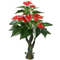 GTidea 3.3 Feet Artificial Tree Anthurium Flowers Decorative Silk Plants Home Office Arrangements Indoor Outdoor Greenery Decor * You can find more details by visiting the image link. (This is an affiliate link) #EasyHomeDecor
