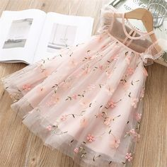 Muium Children Lace Princess Dress Kids Girls Tutu Tulle Gown Bridesmaid Pageant Wedding Dress Party Outfits Clothes for 3-9 Years Old