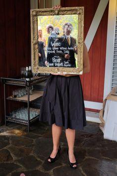 Hudson Valley Vintage Rentals at Barn On The Pond. Vintage Framed Mirror Signage Rentals. Hudson Valley Weddings.