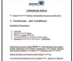 Lowongan Kerja PT. Amtek Engineering Batam (10/12/2020) Batam, Engineering, Technology