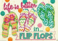 0 point de croix tongs - cross stitch life is better in flip flops
