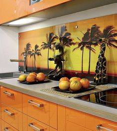 colorful glass backsplash ideas adding digital prints to modern