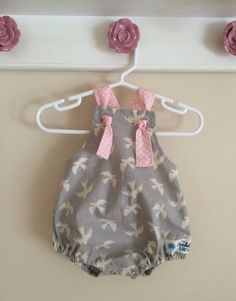 Pink and Gray Baby Romper , Toddler Romper - The Dandelion Lane