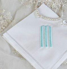 Hemstitched Edge and Monogrammed Handkerchief, Linen Handkerchief,  Bridal…
