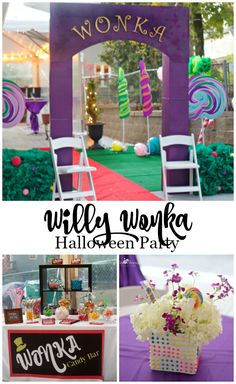 Willy Wonka Halloween Party by PartiesforPennies.com | Willy Wonka and the Chocolate Factory, Willy Wonka Ideas, Halloween Party Ideas, Kids Birthday Party Ideas, @shindigz