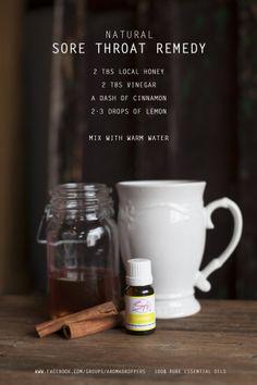 Natural Sore Throat Remedy using Simply Aroma Essential Oils Lemon Essential Oil Local Honey