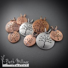 Handmade Tree Pendants from recycled silver and copper.  Eco-friendly for nature lovers!